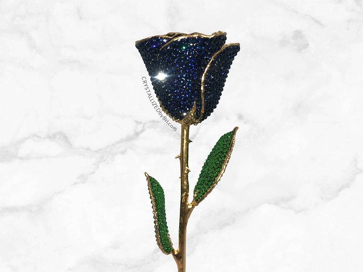 Navy Blue CRYSTALLIZED Preserved Rose