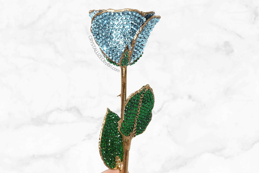 Aquamarine CRYSTALLIZED Preserved Rose