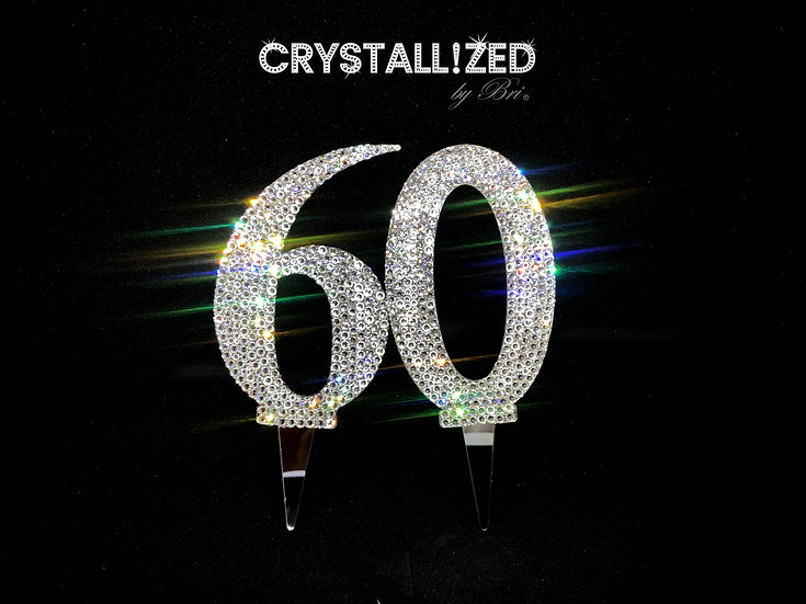 """Silver CRYSTALL!ZED Cake Numbers - 4"""""""
