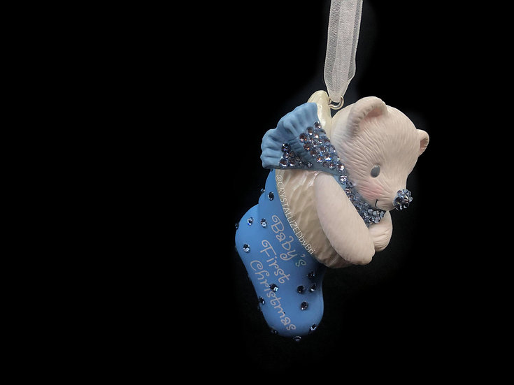 """CRYSTALL!ZED """"Baby's First Christmas"""" Ornament - Blue"""