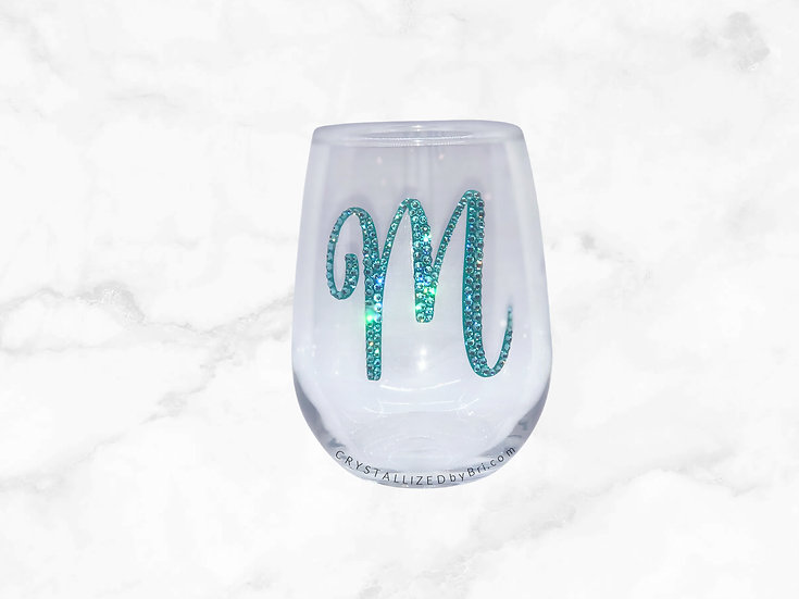 CRYSTALLIZED Stemless Wine Glass - Initial
