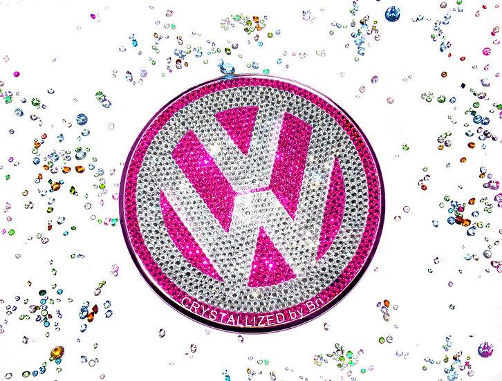 """Pink CRYSTALL!ZED Volkswagen Emblem - 4.5"""""""