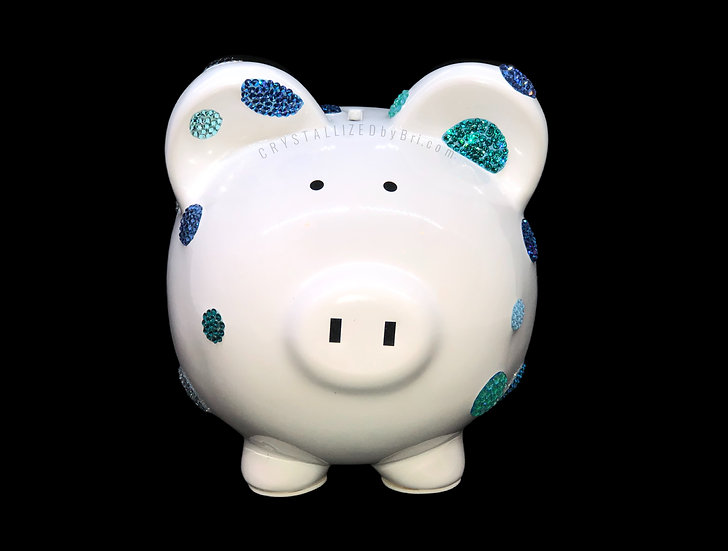 CRYSTALL!ZED Polka Dot Piggy Bank - Blue