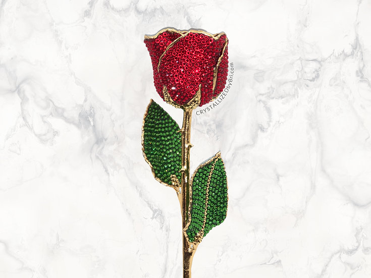 Classic Red CRYSTALLIZED 24k Gold Dipped Rose
