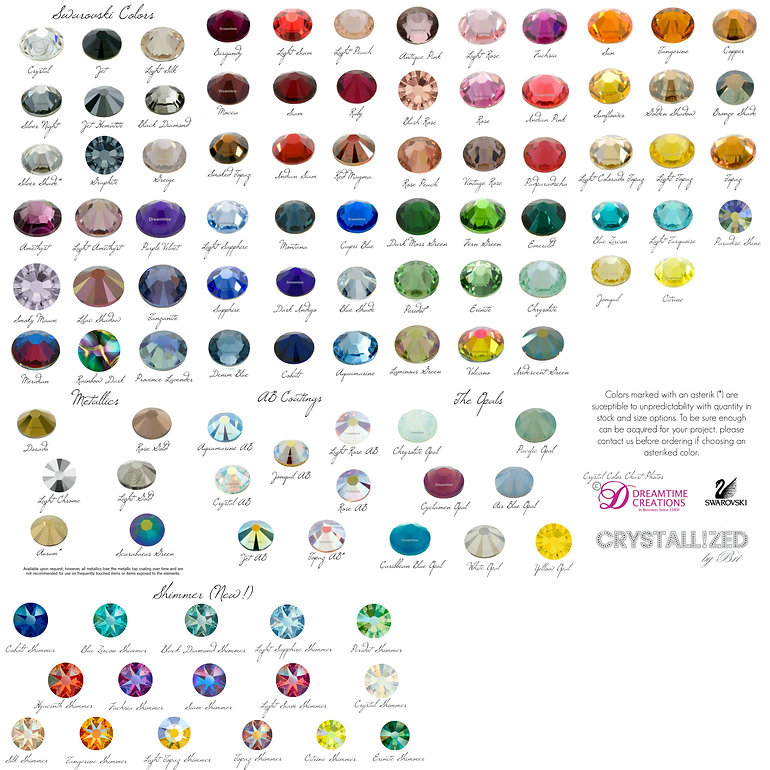 swarovski crystal color chart bling crystallized by bri