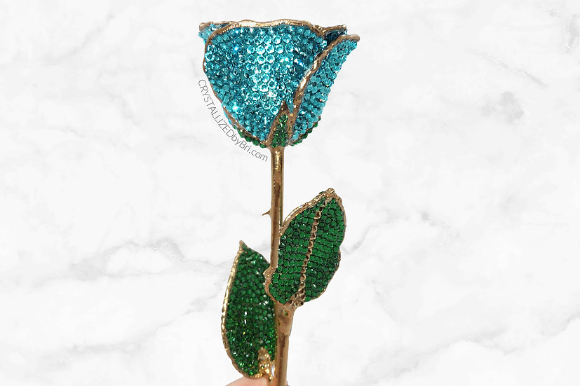 Light Turquoise CRYSTALLIZED Preserved Rose