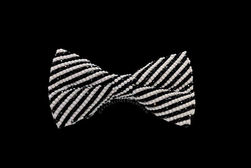 CRYSTALL!ZED Striped Bow Tie - Full Bling