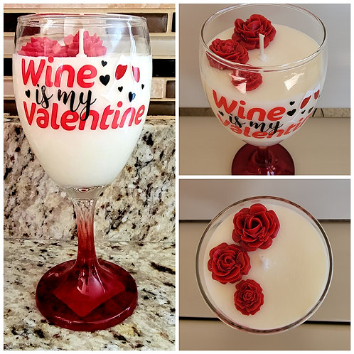 Valentine wine glass soy wax candle