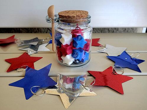 Patriotic wax melts in glass jar w/scoop
