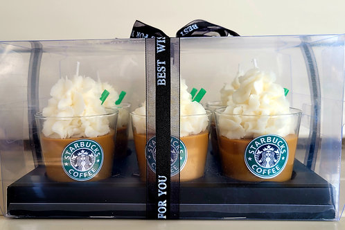 6 pk Starbucks theme scented soy wax candles set