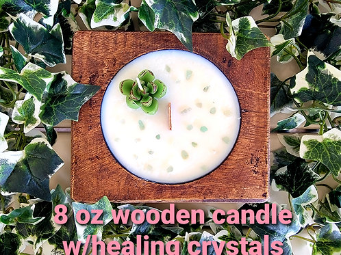 Wooden candle with healing crystals