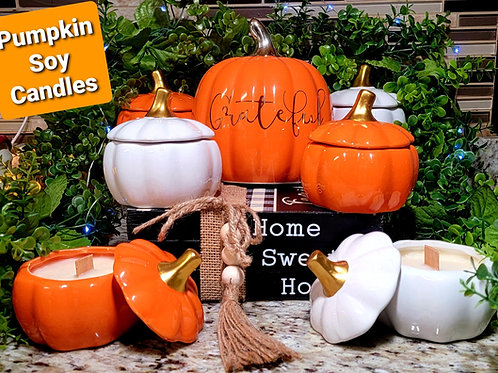 Pumpkin scented soy wax candles