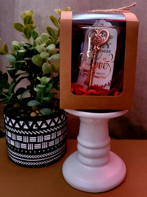 Personalized wine glass with key bottle opener