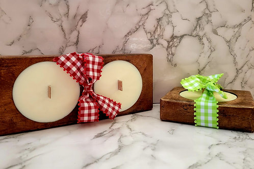 Wooden bowl scented soy wax candles