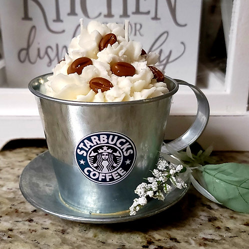 Starbucks theme scented soy wax candle in galvanized mug