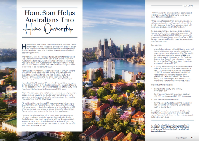 HomeStart Helps Australians Into Home Ownership
