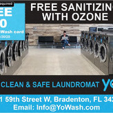 At YoWash Modern, Clean Laundromat, You Can Experience the Difference! Free Sanitizing with Ozone!