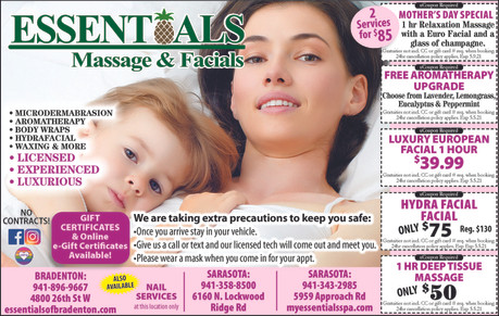 Mother's Day Special only $85, the PERFECT gift at Essentials Massage & Facials!