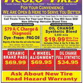 Ticolo Tires offers $79 A/C Charge/Diagnosis and more!