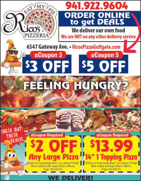 Head to Rico's PIzzeria in Gulfgate. Order online for Great Savings!