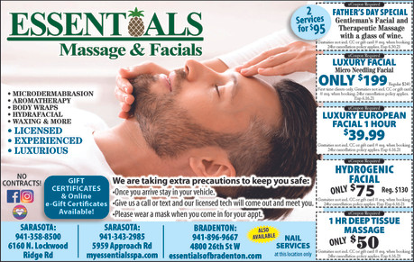 Fathers's Day Special only $95, the PERFECT gift at Essentials Massage & Facials!