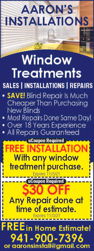 AARON'S INSTALLATIONS - Call Today 941-900-7396 for Great Fall Savings -