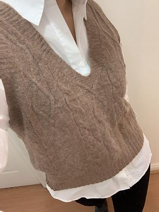 Vest trenzado beige oscuro