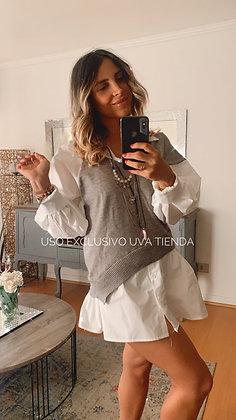 Vest con blusa integrada  (Oversized talla unica )