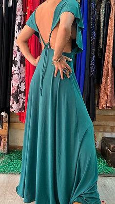 Vestido verde sin espalda volados