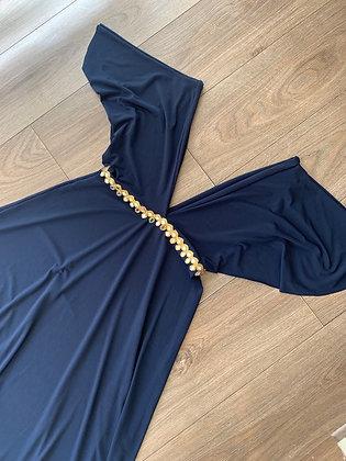Vestido azul marino escote V profundo  aplicación espejo