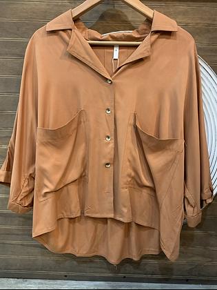 Blusa terracota doble bolsillo oversized