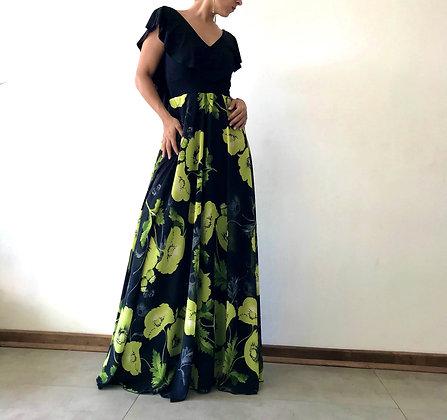 Vestido Gypsy  Flores Verde gasa