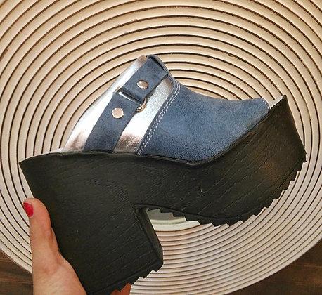 Sandalia azul / plata