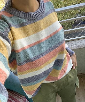Tejido franjas colores pastel talla M-L