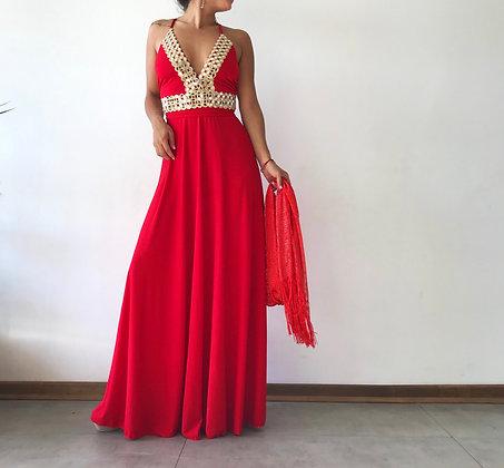 Vestido Rojo aplicación espejo