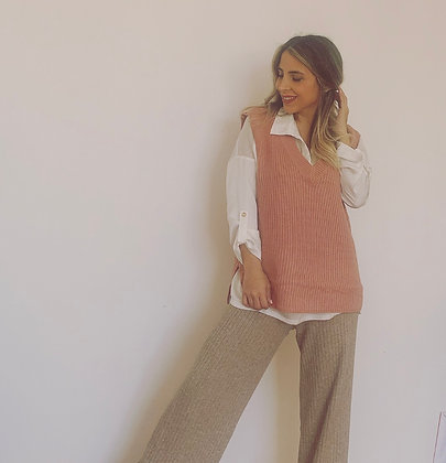 Vest largo rosado