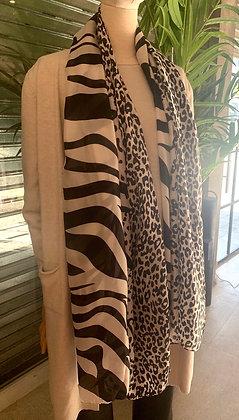 Pañuelo XL print seda beige