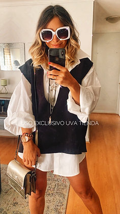 Vest negro + blusa (2 piezas x separado) Oversized suelto