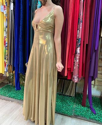 Vestido dorado escotado