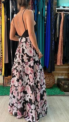 Vestido gasa flores espalda baja