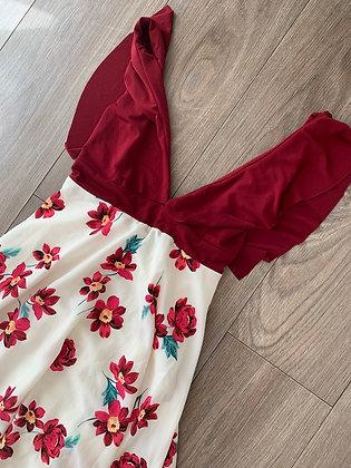 Vestido estampado burdeo flores