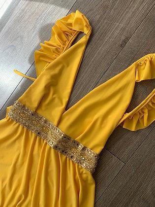 Vestido amarillo vuelos cinta