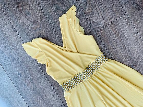 Vestido amarillo cruzado aplicación espejo