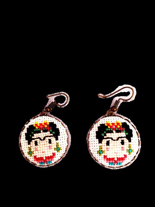 Boucle d'oreille Frida Khalo broderie