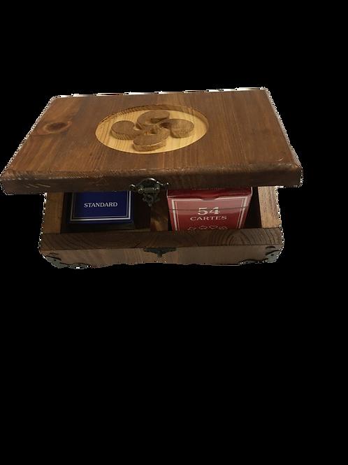 Boite de jeux de cartes en bois