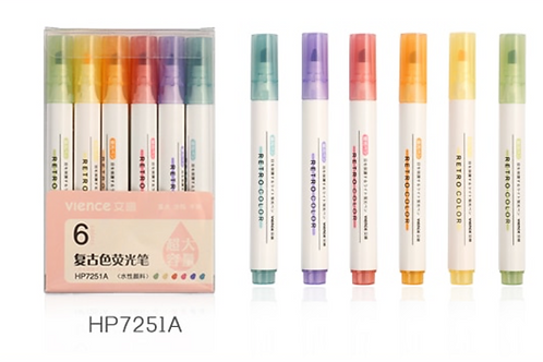 6pc Fluorescent Vience Markers