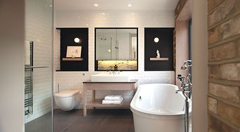 Stylish modern bathroom with beautiful w