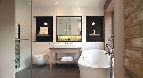 Stylish modern bathroom with beautiful w
