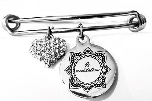 In Meditation Silver Heart Charm Bracelet