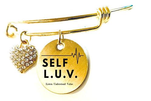 Self L. U. V. Gold Heart Charm Bracelet